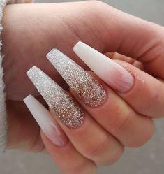 14 Fabulous Ways to Wear Mismatched Glitter Nails - nude and glitter nail art design #nails ,nail #nailart #nudenails
