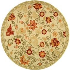 @Overstock - An elegant floral pattern highlights this hand-hooked wool rug. This floor rug has an ivory background and displays stunning panel colors of red, rust, olive green and sage green.http://www.overstock.com/Home-Garden/Hand-hooked-Eden-Ivory-Wool-Rug-8-Round/5221751/product.html?CID=214117 $254.15