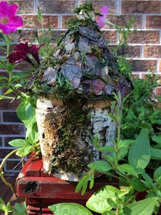 Lovely little handmade fairy house made from gathered bark and moss. House Made, Bird Feeders, Create Yourself, Unique Gifts, Fairy, Outdoor Decor, Handmade, Etsy, Hand Made