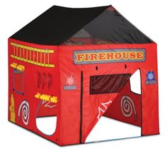 Firehouse House Tent - Pacific Play Tents, our kids Firehouse Tent - Pacific Play Tents is great for imaginative play. Dimensions: 58 in X 48 in X 58 in high. This FireHouse Tent is big enough for the whole Engine Company. Bright Red House, this tent is s Kids Tents, Play Tents, House Tent, Slumber Parties, Outdoor Play, Animals For Kids, Play Houses, Kids Furniture, Games For Kids