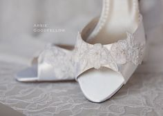 Wedding Shoes  Lace Ivory Shoe  Dyeable Choose From by Parisxox, $144.00