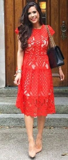 #summer #young #girls #outfits | Midi Red Dress