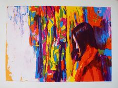 """Very Artistic Signed Colorful """"Dark Haired Girl"""" Lithograph (Framed) Red Shawl, Sign Image, Modern Art Prints, Limited Edition Prints, Art Pieces, Art Gallery, Auction, Abstract, Frame"""