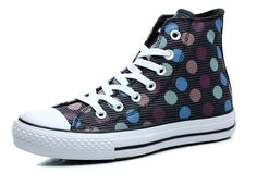 Black Chuck Taylor Converse Women Multi Color Polka Dotted Stripes High Tops All Star Canvas Sneakers #converse #shoes