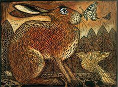 """Unexpected Guest,"" © 2014 Ian MacCulloch, artist and printmaker. Jack Rabbit, Rabbit Art, Hare Illustration, Illustrations, Bunny Art, Bunny Bunny, Wood Engraving, Of Wallpaper, Woodblock Print"