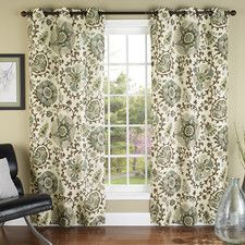 Medallions Poly Duck Cloth Grommet Curtain Panel