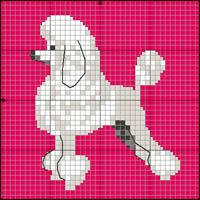stor-) - Free Silver and White Poodle Knitting / Cross Stitch Dog Pattern Scrubbies Crochet Pattern, Crochet Patterns, Cross Stitch Charts, Cross Stitch Patterns, Feather Tree, Dog Crafts, Dog Pattern, Cross Stitch Animals, Beaded Animals