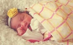 Baby blanket in voile and flannel, handmade headband