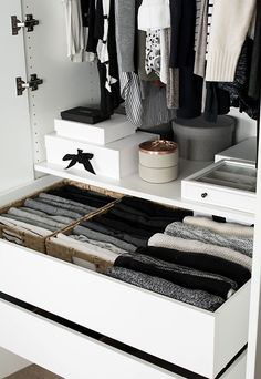 Wardrobe Drawer Organization - Homey Oh My - Wardrobe Drawer Organization. small space storage tips Wardrobe Drawer Organization. Storage Room Organization, Closet Organisation, Closet Storage, Drawer Storage, Organization Ideas, Bedroom Storage, Dresser Drawer Organization, Storage Baskets, Drawer Ideas