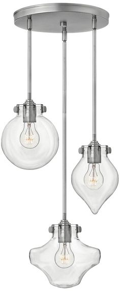 "Hinkley Congress 19 3/4"" Wide Nickel Multi-Light Pendant - #8T073 | Lamps Plus"