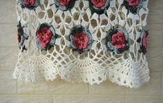 Manga corta blusa de flores de ganchillo