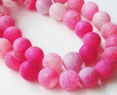 Pink Agate Round Beads  Pink Dragon Frosted Agate by BijiBijoux
