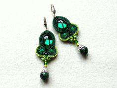 Soutache earrings Green Swarovski Glamour! from KC-Soutache by DaWanda.com