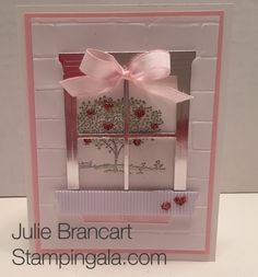 Julie Brancart www.stampingala.com Valentine card featuring Stampin Up's Happy Home Stamp Set and Hearth & Home Framelits Dies.