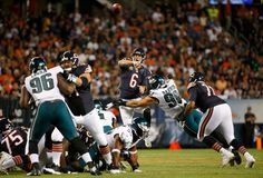 Chicago Bears quarterback Jay Cutler throws under pressure by Philadelphia Eagles defensive end Connor Barwin during the first half of an NFL football game, Monday, Sept. 19, 2016, in Chicago.