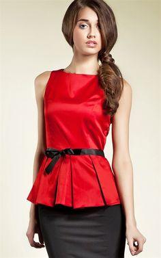 Ozsale - Sleeveless Tie Waist Blouse Red - Ozsale.com.au