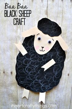 Adorable sheep craft for kids that goes along perfectly with the book and nursery rhyme Baa, Baa, Black Sheep. Great spring kids craft.