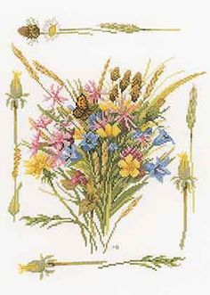 Field Bouquet - cross stitch kit by Marjolein Bastin - A spray of brightly coloured wild flowers. Cross Stitch Embroidery, Cross Stitch Patterns, Marjolein Bastin, Thread Art, Cross Stitch Flowers, Needlework, Vintage World Maps, Bouquet, Painting