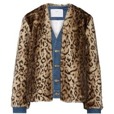 Toga Denim-trimmed leopard-print faux fur jacket ($695) ❤ liked on Polyvore featuring outerwear, jackets, oversized jacket, brown jacket, leopard jacket, brown faux fur jacket and leopard print jacket