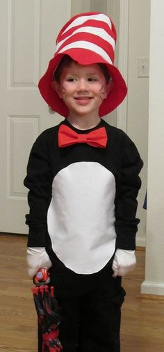 cat in the hat costume black pants, black sweatshirt, red bow tie, white felt tummy, white gloves. Family Costumes, Diy Costumes, Halloween Costumes, Costume Ideas, Dr Seuss Day, Dr Suess, Theodor Seuss Geisel, Storybook Characters, Birthday Week
