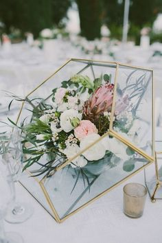 modern gold geometric vases spring wedding centerpieces for creative couples
