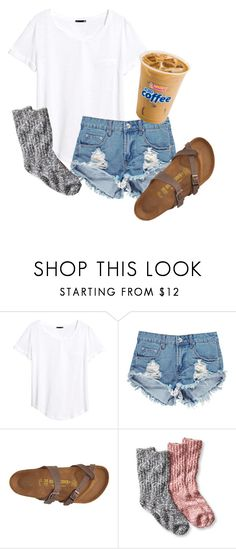 """""""Okay.. So I can't wear socks with these burks... Oh """" by so-preppy ❤ liked on Polyvore featuring H&M, Boohoo and Birkenstock"""