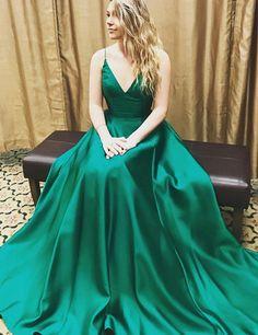 V Neck Prom Dresses ,Hunter Prom Dress ,long a-line prom dresses,sexy prom dresses, prom ideas, fashion,dresses, evening dresses