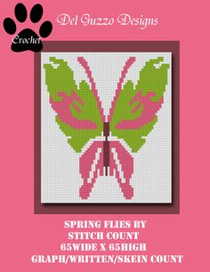 Butterfly Spring Flies By Crochet Graph by DelGuzzoDesignStudio on Etsy