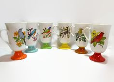 Bird Coffee Cups  Pedestal Style  Set of 6  by ChicMouseVintage
