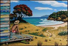 nz art - nz art - nz art kiwiana - nz artists - nz art paintings - nz art for kids - nz art prints - nz art design - nz artists new zealand art Surfboard Painting, Discovery Bay, New Zealand Art, Nz Art, Art Folder, Kiwiana, Surf Art, Beach Art, Online Art