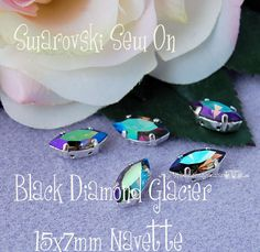 Black Diamond Blue Glacier Sew On Swarovski Crystal 15x7mm Navette 4200 in a SP 4-hole Prong Setting - Wire Jewelry Supply - Component