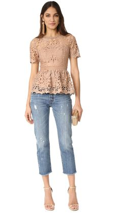 Ministry of Style Lush Lace Top Fashion Jackson, Lace Tops, Blouse Designs, Color Pop, Peplum, Dress Shoes, Short Sleeves, Ministry, Lush