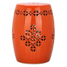 Outdoor Safavieh Quatrefoil Garden Stool Orange - ACS4535D