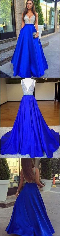 Royal Blue Long Prom Dress, 2018 Beads Long Prom Dress Evening Dress M1629#prom #promdress #promdresses #longpromdress #promgowns #promgown #2018style #newfashion #newstyles #2018newprom #eveninggown #aline #royalblue #beaded #satin #vneckline