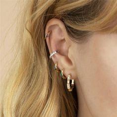Emerald Earrings, Diamond Hoop Earrings, Ear Jewelry, Cute Jewelry, Jewellery, Mini Hoop Earrings, Luxury Jewelry, Red Gold, Necklace Lengths