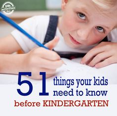 Things kids need to know before Kindergarten...a thorough list, but I think that kids don't need ALL of this before Kindergarten. A good place to start when searching what to teach your kids.