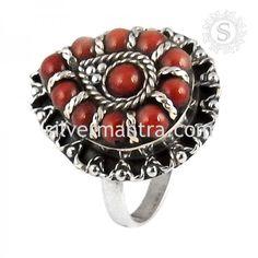 Best Design!! Coral 925 Sterling Silver Ring