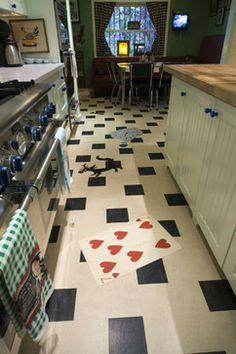 Marmoleum Inlays - Crazy Fun design in a kitchen  by Crogan Inlay Floors in LA