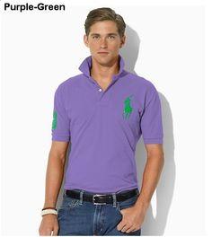 Ralph Lauren Men Slim-Fit Big Pony Polo Purple Green