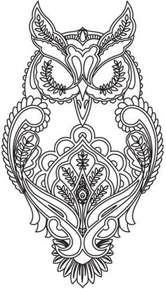 Full Moon Owl Embroidery Tattoo Design or color sheet