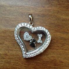 Large Heart Locket w/Cubic Zirconia, Dog Charm, CZ Dog Bone charm, CZ Heart Charm