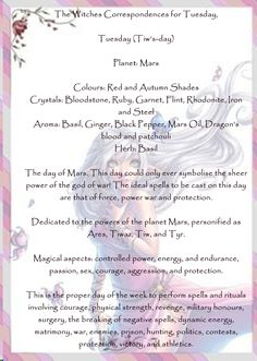 The Witches Correspondences for Tuesday,
