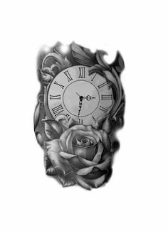 With bug at the bottom Time Clock Tattoo, Clock And Rose Tattoo, Skull Tattoos, Hand Tattoos, Sleeve Tattoos, Clock Tattoo Design, Tattoo Designs, Tattoo Sketches, Tattoo Drawings