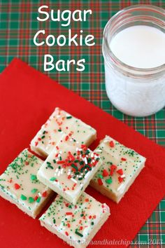 Sugar Cookie Bars | cupcakesandkalech... | #cookies #barcookies #christmascookies