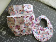 """Purple & Pink Little Owls-Two Cotton Quilted Doll Diapers(2) & Bib 14-16 """""""