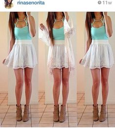 summer Outfit • Skater skirt • Fashion • Mint Crop top • Boots