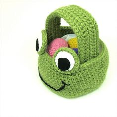 Frog Easter Basket Crochet Pattern PDF by cuddlebugkids on Etsy, $4.99