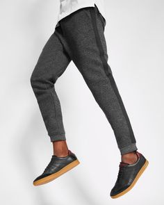 Textured jersey jogger-style trousers - Charcoal | Trousers | Ted Baker UK