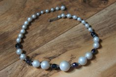Estate Vintage Jewelry Necklace Beaded Glass Blue Ball  Pearl  Choker  X-043 by VintageEstate86 on Etsy