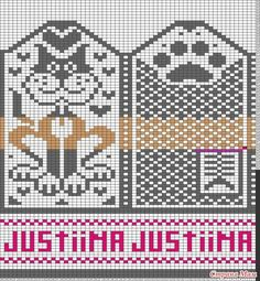 Tricksy Knitter Charts: Cat mittens by Veera Romppainen Knitted Mittens Pattern, Knit Mittens, Knitted Gloves, Knitting Socks, Knitting Charts, Knitting Stitches, Knitting Designs, Knitting Patterns, Fair Isle Chart